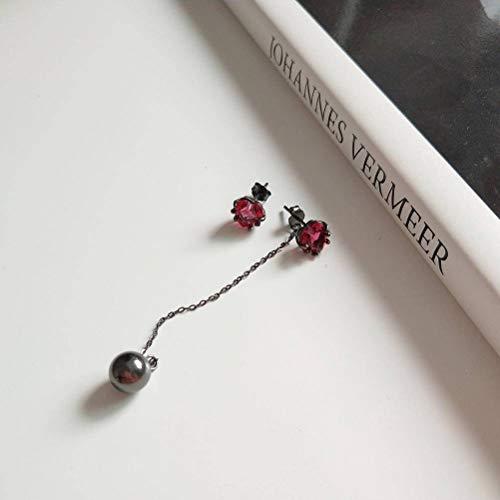 Salvaje Plata Esterlina 925 con Flecos Granate Rojo Corazón Pendientes Pendientes Temperamento Femenino Pendientes de Pelo Corto, WOZUIMEI, Misteriosos aretes de corazón rojos,
