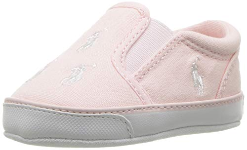 Polo Ralph Lauren Kids Girls' Bal Harbour Repeat Crib Shoe, Light Pink, 3 M US Infant