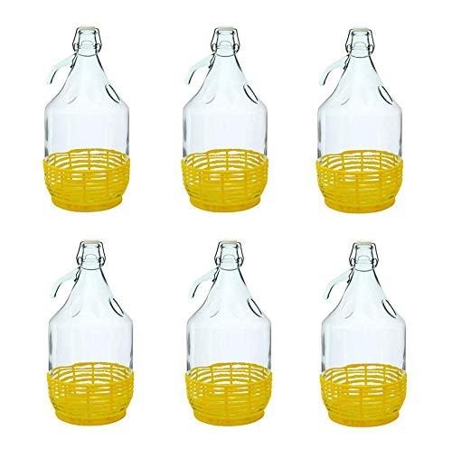 Beste Angebote 6 STÜCK 5L Gärballon mit BÜGELVERSCHLUSS und Kunststoffkorb Flasche Glasballon Weinballon Bügelflasche