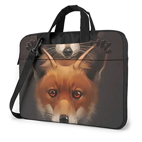 Laptop Shoulder Bag - Fox and Raccoon Printed Shockproof Waterproof Laptop Shoulder Backpack Bag Briefcase 15.6 Inch