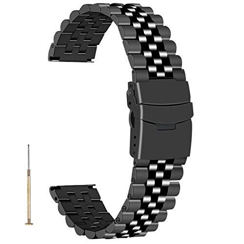 Juntan Liberación rápida Correa de reloj negra de repuesto para hombres y mujeres Banda de reloj 3D de 22mm Atornillado cónico Pulsera de reloj de acero inoxidable
