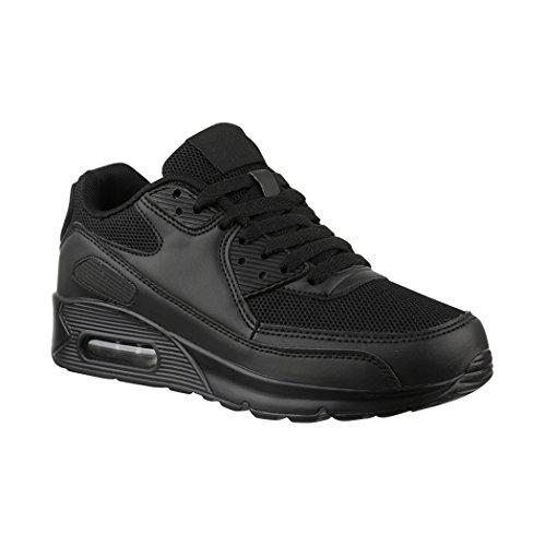 Elara Damen Herren Sneaker Unisex Sport Laufschuhe Turnschuhe Chunkyrayan H001-Z001 Black-44