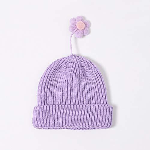 Sombrero de Punto para niños otoño e Invierno Linda versión Coreana del vibrato Little Flower Little Virgin Baby Pullover Hat Gorro de Lana cálido