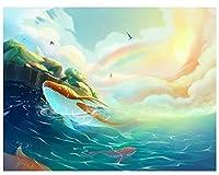 手芸キット数字で描く大人のためのツリーアニメ猫風景家の装飾のための手描きの油絵ArtcraftDiyギフトB40X50CM(フレーム付き)
