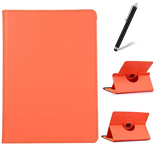Artfeel Compatible with Samsung Galaxy Tab S4 10.5 2018 T830/T835 Case,360 Degree Rotating Multi-Angle Viewing Stand Cover,Slim Lightweight PU Leather Flip Folio Tablet Case,Orange