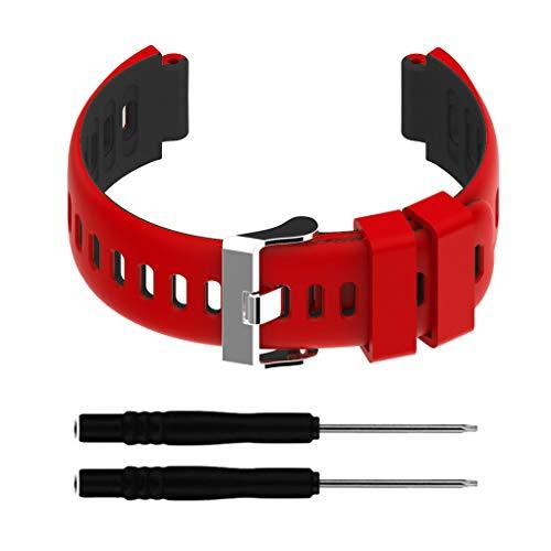 NO BRAND Elenxs Reemplazo de la Correa de Reloj Deportivo Correa Banda Banda de Reloj para Garmin Forerunner 220/230/235/620/630 / 735xt, Rojo Negro