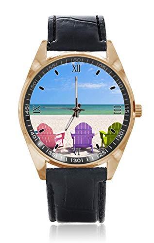 Chaise de plage vacances voyage sur la plage ensoleillée hommes et femmes bracelet en cuir en acier inoxydable étanche à quartz