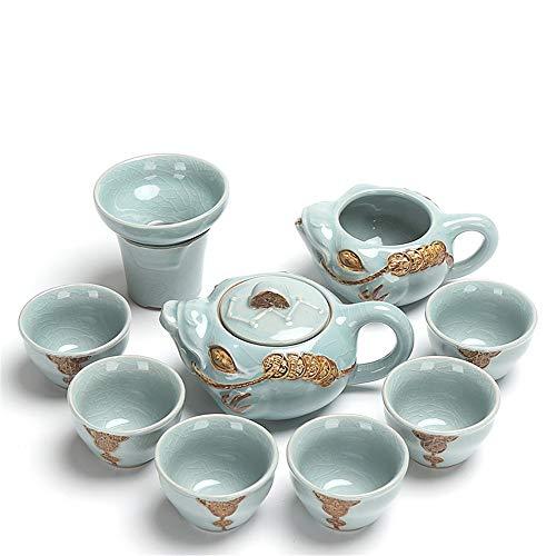 Juego de té de cerámica Kung Fu Simple De Cerámica Kung Fu Juego De Té De Gran Capacidad Simple Conjunto De China/Japón Retro Tetera De La Taza De Té con La Caja De Regalo Juego de té Chino