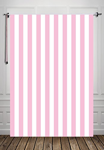 HUA D-8850 - Fondo para fotografía (1,5 x 2,1 m), diseño de rayas, color rosa y blanco