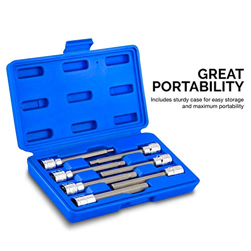 """Neiko 10076A 3/8"""" Drive Extra Long Allen Hex Bit Socket Set, Metric, 3mm to 10mm   7-Piece Set, S2 and Cr-V Steel"""