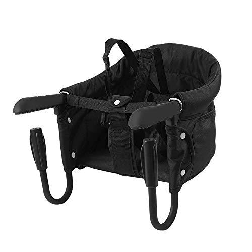 Surplex Tischsitz Faltbar Babysitz, Baby Hochstuhl Sitzerhöhung mit Transporttasche, für Kleinkind Carrier für zu Hause und Unterwegs, Belastbar bis 15 kg (Tischsitz Schwarz)