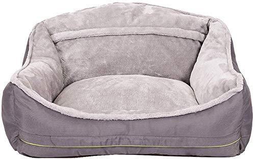 YLCJ Nido de sofá para Mascotas, Cama para Mascotas Estilo Nido, cojín Acolchado de algodón Extra cómodo y Fondo Antideslizante, Nido de Mascotas cálido con Respaldo Alto (Gris), Gris, L
