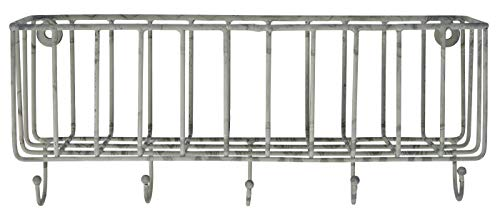 IB Laursen Metall Wandkorb mit 5 Haken Regalkorb Aufbewahrungskorb L30x B13cm 57049-18
