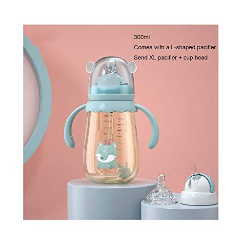 YLL Biberón 300ml Botella de Boca Ancha de Silicona Calibre con Chupete L XL Tamaño de la Botella de Agua Chupete Botella de Cristal con la manija BPA (Color : Azul)