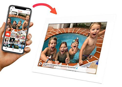 Weiß Kiki & Co Digitaler Bilderrahmen 10 Zoll, Elektronischer Fotorahmen, Hochauflösende Diashow, 8 GB zum Teilen von Fotos und Videos über die App