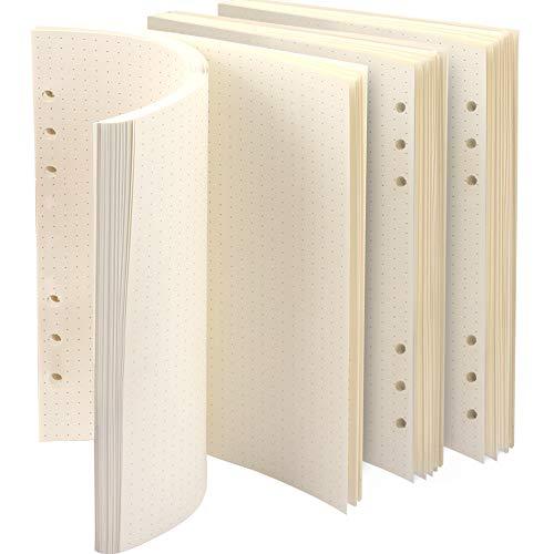 3 Packungen A5 Papier Gepunktet, FANDAMEI 6 Löcher 135 Blätter A5 Nachfüllpapier Nachfüllbare Refill Paper Nachfülleinlagen für A5 Notizbuch, Tagbuch, Skizze, Malerei