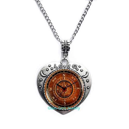 Collar de brújula, encantador collar de brújula, colgante de brújula vieja, collar de steampunk para viajero, regalo de viajero, collar de hombre, Q0099