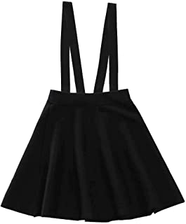 Girl's Kids Solid Knit Flare A Line Mini Suspender Skirt Age 3-14 Years