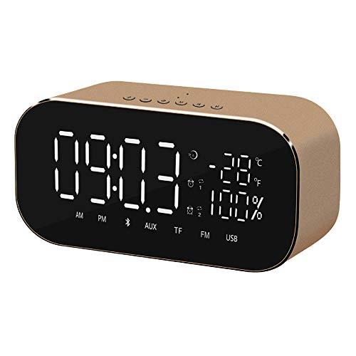 FPRW digitale led-wekker, nachtlamp-klok, met wekker, Bluetooth, FM-radio, thuisdecoratie, goudkleurig
