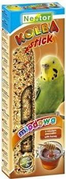 Nestor de vogne Stor Mangeoire à oiseaux perruches avec Miel 5x–Lot de 2bâtonnets de grignoteuse Kolbe
