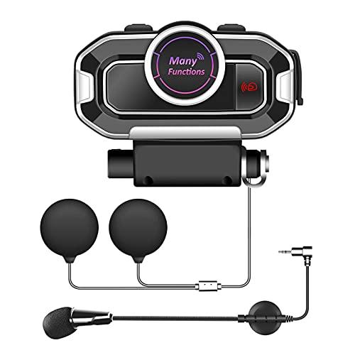 FDKJOK Casco de motocicleta Motocicleta Bluetooth Intercomunicador Voz Despertar Bluetooth 5.0 Auriculares inalámbricos con micrófono (negro)