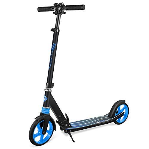 BELEEV Monopattino Adulti, Pieghevole e con Altezza Regolabile, PU Big Wheel 200mm, City Kick Scooter per Adulto & Adolescente (Blu)