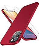 RANVOO Funda compatible con iPhone 12 Pro Max con 2 protectores de pantalla, ultra delgada [antihuellas, plástico duro, gran agarre, acabado mate, para iPhone 12 Pro Max 6.7 pulgadas, color rojo