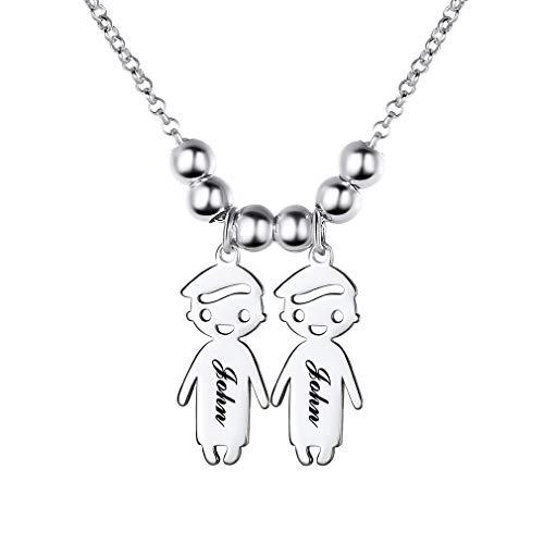 Custom4U Niño y Niña Pies Bebé Collar Personalizado para Madre Figura Infantil Plata de Ley 925 / Acero Inoxidable 316L para Mujeres Nombres Hijos Grabados