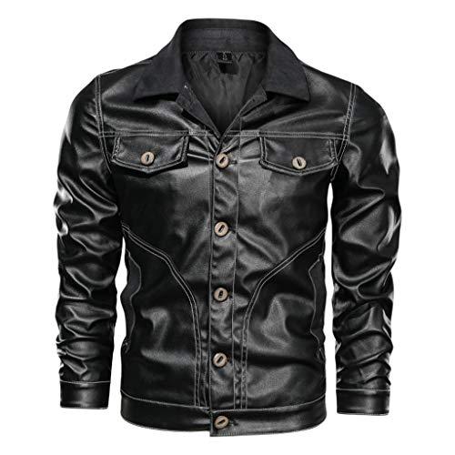 Moderne Männer Motorrad Biker Lederjacken Motorradsport Motorradjacke Top Herren Outdoor Plus Size Wasserdicht Overcoat,Black-M