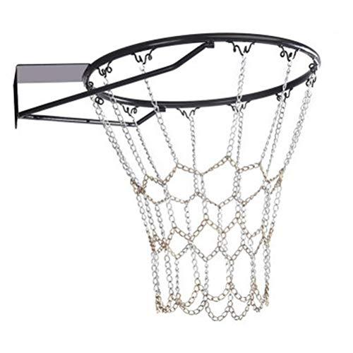 CZ-XING Red de baloncesto de cadena de acero con 12 aros de cierre, red de baloncesto de metal de dos tonos