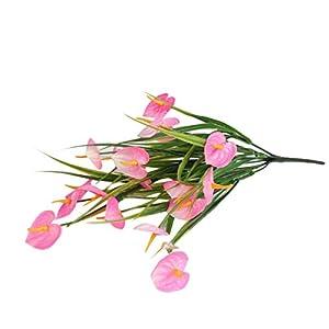 MAICC 2 Bundles Artificial Fake Flowers, Faux Plastic Green Leaf Anthurium Flower Outdoor UV Resistant Shrubs for Garden Indoor Decorations Hanging Planter Home Wedding Porch Window Decor (Pink)