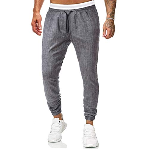 Fashion Mens Casual Solid Loose Plaid Lattice Sweatpant Trousers Sport Jogger Pant