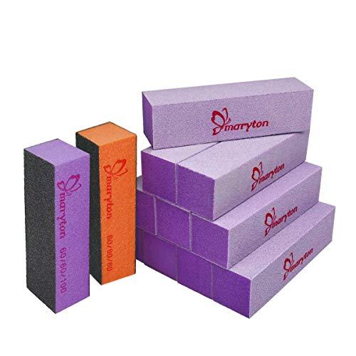 Maryton Nail Buffer Blocks, Professional 4 Way Buffing Block Files 100/180 Grit for Natural and Acrylic Nails Filing Manicure Kit Tools 12 PCS