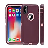Compatible with iPhone X Case, iPhone Xs Case Shockproof Heavy Duty Soft TPU+ Hard PC Protective Anti-Scratch Fingerprint Phone Cover Cases for iPhone X(2017)/XS(2018) Purple