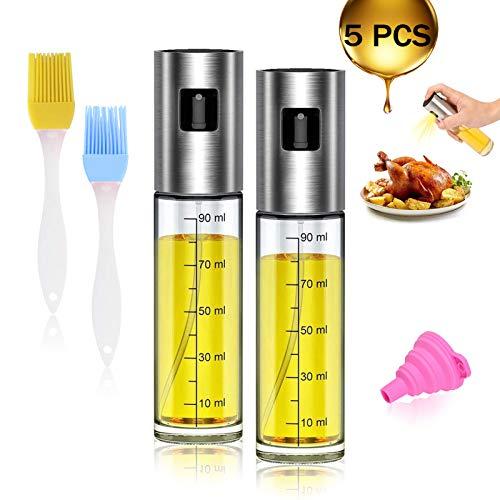 Öl Sprayer 5 in 1 Öl Sprühflasche Essig Spritzer Ölspender Transparent Öl Sprayer Multifunktional Olivenöl Sprüher, für Kochen Salat BBQ Pasta Grill Gewürz (100ML)