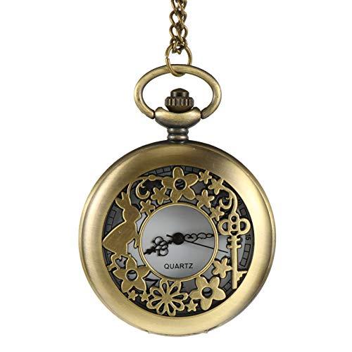 ibasenice Reloj de Bolsillo Retro Antiguo Bronce Hueco Arte Collar Colgante Reloj Fob Reloj Grabado Analógico Reloj de Cuarzo para Mujeres Hombres Regalo de Cumpleaños