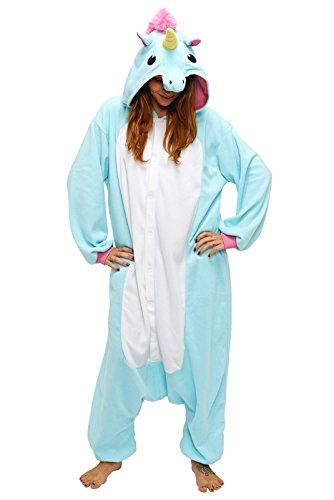 Anbelarui Tier Skelett Pinguin Dinosaurier Panda Einhorn Kostüm Damen Herren Pyjama Jumpsuit Nachtwäsche Halloween Karneval Fasching Cosplay Kleidung S/M/L/XL (XL, Blaues Einhorn)