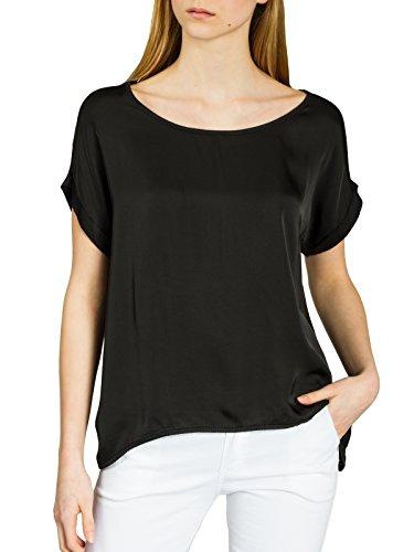 Caspar BLU017 leichte Elegante Damen Seidenglanz Kurzarm Sommer Shirtbluse, Farbe:schwarz, Größe:XL/XXL