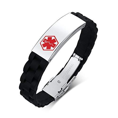 AnazoZ Pulsera Hombre,Pulseras Hombre Acero Inoxidable Personalizadas Signo Médico Pulsera Plata Negro Rojo
