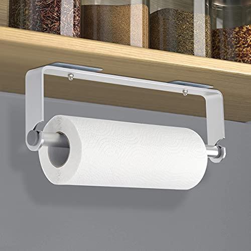 MOOCUCA Porta Rotolo da Cucina a Parete, Portasciugamani in Alluminio Autoadesivo Senza Foratura Portarotolo da Cucina per Hotel Senza Foratura (Argento)