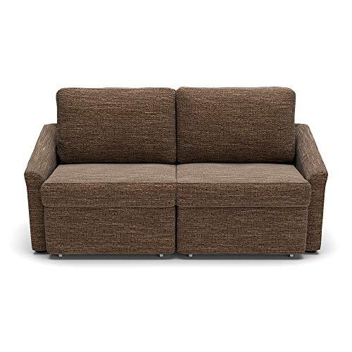 DOMO. collection Relax Dauerschläfer Boxspring Sofa mit Schlaffunktion, 2-Sitzer Schlafsofa Gästebett | 168 x 96 x 86 cm, braun