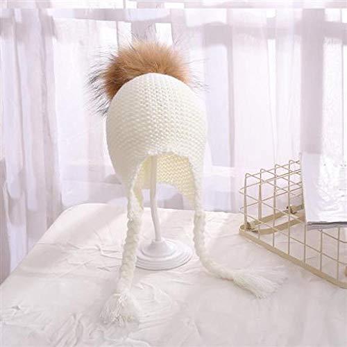 DASGOOD Herbst Und Winter Warme Baby Mütze Echte Strickmütze Hut Ohrstöpsel Kappe Baby Mädchen Nadel Strickmütze, Weiß 3-36 Monate, Für Natürliche Echtpelz