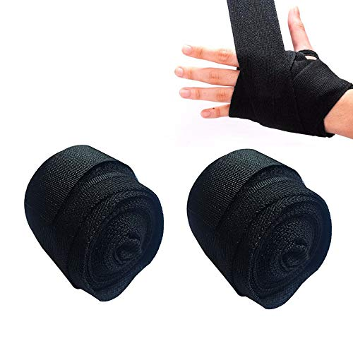 ICYANG 1 Paar Baumwolle Boxbandagen Boxing Gloves Verband Sport Wraps Muay Thai Kickboxen MMA Taekwondo Männer Frauen Handbandage Trainingshandschuhe, 2,5 m,Schwarz