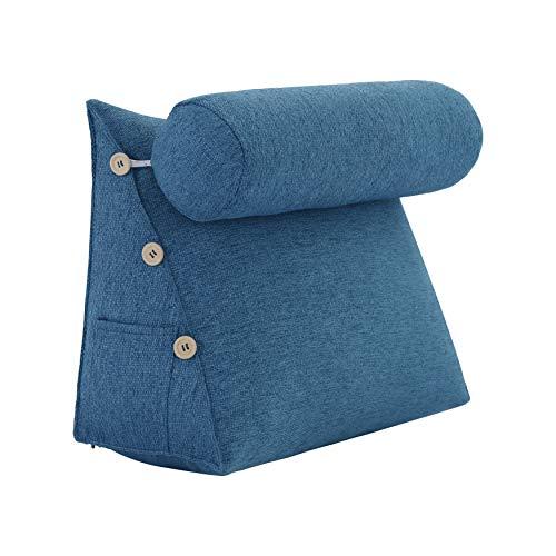 VERCART Rückenkissen Nackenrolle Keilkissen Stützkissen Nackenstützkissen Kopfkissen Groß Kissen Bettkissen Wedge Pillow für Sofa Bett Couch Leinen Blau 45x45x20cm
