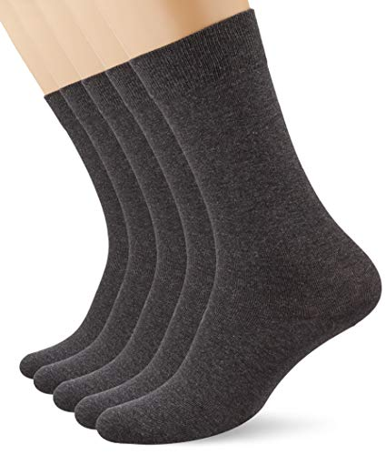 Marca Amazon - MERAKI Calcetines por Media Pierna de Algodón Hombre, Pack de 5, Gris (Charcoal), 39-42 EU, Label: 6-8 UK