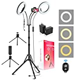 iMartine LED Ring Light 8' with Tripod Stand, Makeup Selfie Dual Light Ring for Photography YouTube Video Vlog, Upgraded Double Ring Lights [3 x Tripods, 2 x Adapters, 2 x Phone Clips] [6 Light Modes]