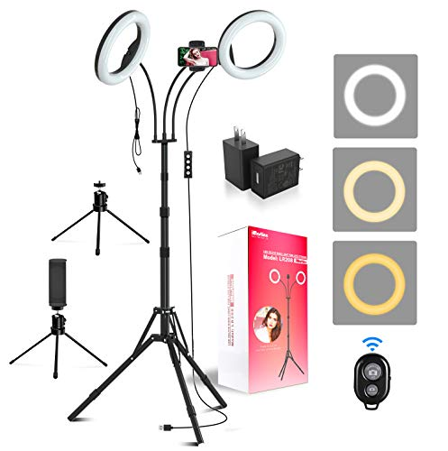 """iMartine LED Ring Light 8"""" with Tripod Stand, Makeup Selfie Dual Light Ring for Photography YouTube Video Vlog, Upgraded Double Ring Lights [3 x Tripods, 2 x Adapters, 2 x Phone Clips] [6 Light Modes]"""