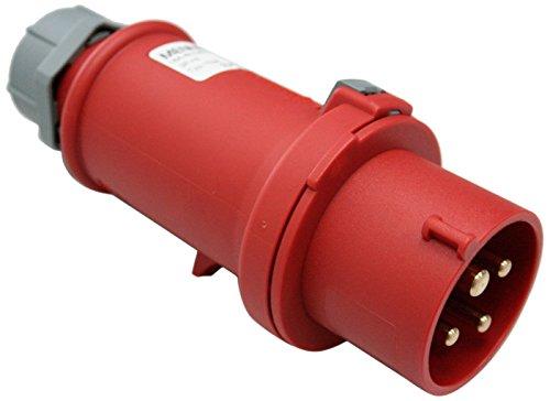 as - Schwabe 60570 CEE-Stecker, rot, mit Schraubanschluss 400V/16A/4polig/6h-IP44, 400 V