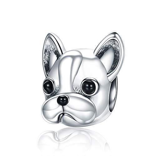 FeatherWish Fits Pandora - Ciondolo in argento Sterling 925 a forma di testa di bulldog francese, compatibile con braccialetti Pandora