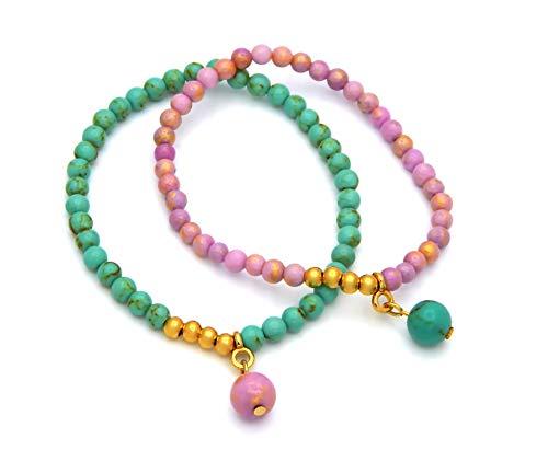 Damen Armband 2er Set Jadeperlen & Goldperlen Türkis und Pink 4,4mm breit Länge flexibel Elastikband Perlenarmband Armbänder